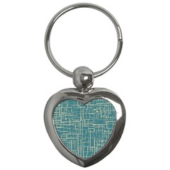 Hand Drawn Lines Background In Vintage Style Key Chains (heart)  by TastefulDesigns
