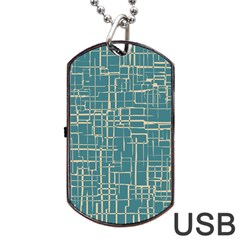 Hand Drawn Lines Background In Vintage Style Dog Tag Usb Flash (one Side) by TastefulDesigns