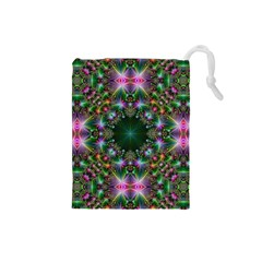 Digital Kaleidoscope Drawstring Pouches (small)  by Simbadda