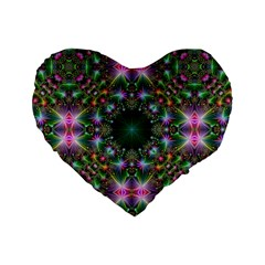 Digital Kaleidoscope Standard 16  Premium Flano Heart Shape Cushions by Simbadda