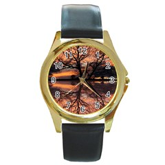 Aurora Sunset Sun Landscape Round Gold Metal Watch by Simbadda