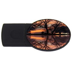 Aurora Sunset Sun Landscape Usb Flash Drive Oval (4 Gb) by Simbadda