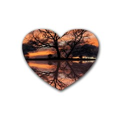 Aurora Sunset Sun Landscape Rubber Coaster (heart)  by Simbadda