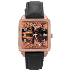 Aurora Sunset Sun Landscape Rose Gold Leather Watch  by Simbadda