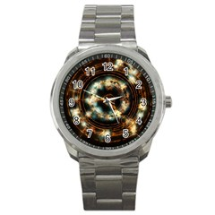 Science Fiction Energy Background Sport Metal Watch by Simbadda
