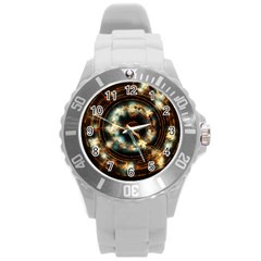 Science Fiction Energy Background Round Plastic Sport Watch (l) by Simbadda