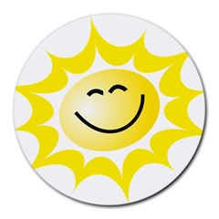 The Sun A Smile The Rays Yellow Round Mousepads by Simbadda