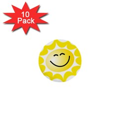 The Sun A Smile The Rays Yellow 1  Mini Buttons (10 Pack)  by Simbadda