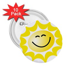 The Sun A Smile The Rays Yellow 2 25  Buttons (10 Pack)  by Simbadda