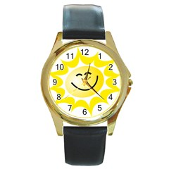 The Sun A Smile The Rays Yellow Round Gold Metal Watch by Simbadda