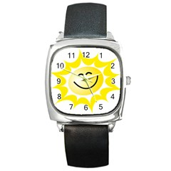 The Sun A Smile The Rays Yellow Square Metal Watch by Simbadda