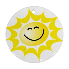 The Sun A Smile The Rays Yellow Round Ornament (two Sides) by Simbadda