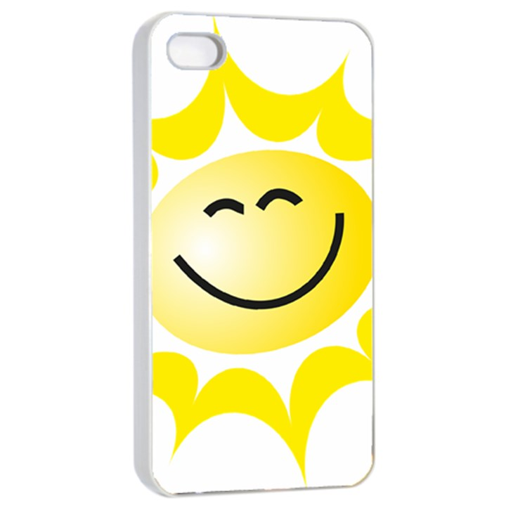 The Sun A Smile The Rays Yellow Apple iPhone 4/4s Seamless Case (White)