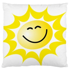 The Sun A Smile The Rays Yellow Large Cushion Case (one Side) by Simbadda