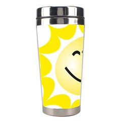 The Sun A Smile The Rays Yellow Stainless Steel Travel Tumblers by Simbadda