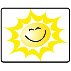 The Sun A Smile The Rays Yellow Double Sided Fleece Blanket (medium)  by Simbadda