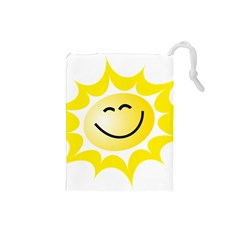 The Sun A Smile The Rays Yellow Drawstring Pouches (small)  by Simbadda
