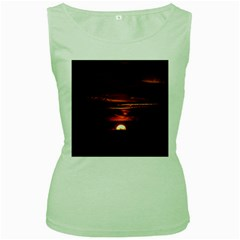 Sunset Sun Fireball Setting Sun Women s Green Tank Top by Simbadda
