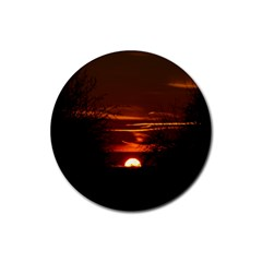 Sunset Sun Fireball Setting Sun Rubber Coaster (round)  by Simbadda