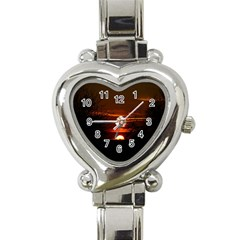 Sunset Sun Fireball Setting Sun Heart Italian Charm Watch