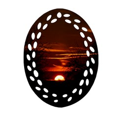 Sunset Sun Fireball Setting Sun Ornament (oval Filigree) by Simbadda