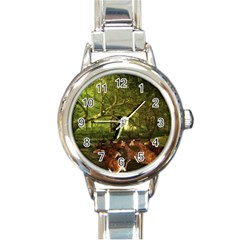 Red Deer Deer Roe Deer Antler Round Italian Charm Watch by Simbadda