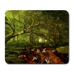 Red Deer Deer Roe Deer Antler Large Mousepads by Simbadda