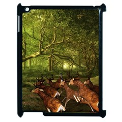 Red Deer Deer Roe Deer Antler Apple Ipad 2 Case (black) by Simbadda