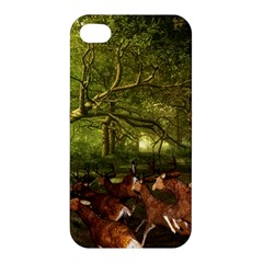 Red Deer Deer Roe Deer Antler Apple Iphone 4/4s Premium Hardshell Case by Simbadda