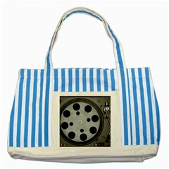 Turntable Record System Tones Striped Blue Tote Bag by Simbadda
