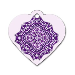 Mandala Purple Mandalas Balance Dog Tag Heart (one Side) by Simbadda
