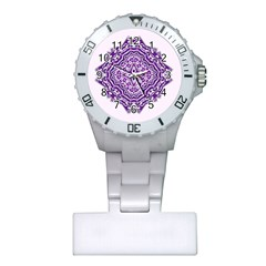 Mandala Purple Mandalas Balance Plastic Nurses Watch by Simbadda