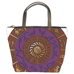 Zodiak Zodiac Sign Metallizer Art Bucket Bags by Simbadda