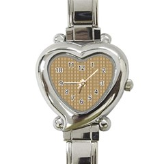 Pattern Background Brown Lines Heart Italian Charm Watch by Simbadda