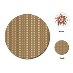Pattern Background Brown Lines Playing Cards (round)  by Simbadda