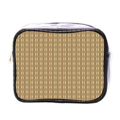 Pattern Background Brown Lines Mini Toiletries Bags by Simbadda