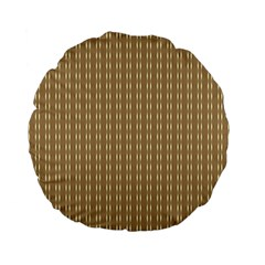 Pattern Background Brown Lines Standard 15  Premium Flano Round Cushions by Simbadda