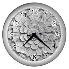 Pattern Motif Decor Wall Clocks (silver)  by Simbadda