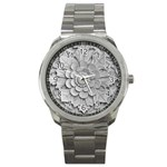 Pattern Motif Decor Sport Metal Watch Front