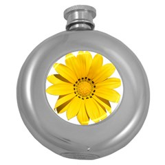 Transparent Flower Summer Yellow Round Hip Flask (5 Oz) by Simbadda