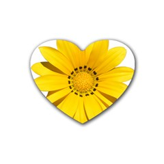 Transparent Flower Summer Yellow Rubber Coaster (heart)  by Simbadda