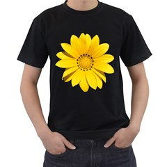 Transparent Flower Summer Yellow Men s T Shirt (black)