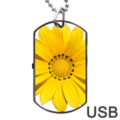 Transparent Flower Summer Yellow Dog Tag Usb Flash (two Sides) by Simbadda
