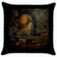 Woman Lost Model Alone Throw Pillow Case (black) by Simbadda