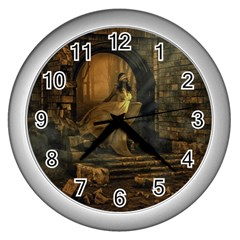 Woman Lost Model Alone Wall Clocks (silver)