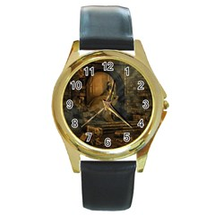 Woman Lost Model Alone Round Gold Metal Watch by Simbadda