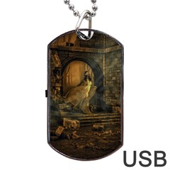 Woman Lost Model Alone Dog Tag Usb Flash (two Sides) by Simbadda