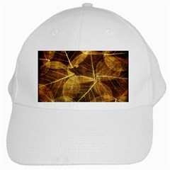 Leaves Autumn Texture Brown White Cap by Simbadda
