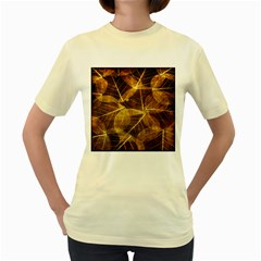 Leaves Autumn Texture Brown Women s Yellow T-shirt by Simbadda