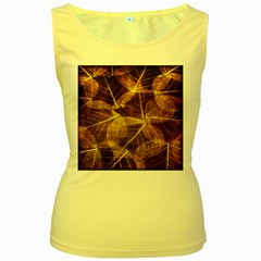 Leaves Autumn Texture Brown Women s Yellow Tank Top by Simbadda
